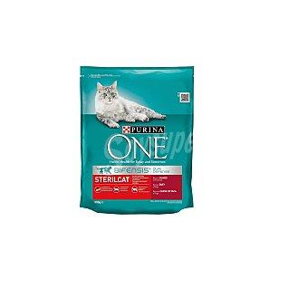 One Purina Comida seca one Purina para gatos Esterilizados rico en Buey y Trigo  800 g