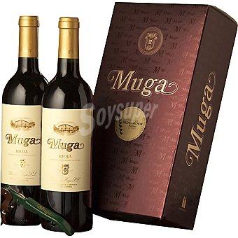 Muga Vino tinto crianza D.O. Rioja + sacacorchos Estuche 2 botellas 75 cl