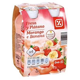 DIA Yogur líquido fresa y platano botella 4x180 g