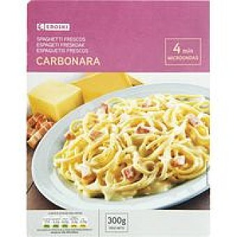 Eroski Espaguetis a la carbonara Bandeja 300 g