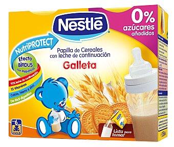 Nestlé Papillas Papilla líquida de cereales con leche de continuación y galleta desde 6 meses Pack de 2x250 ml