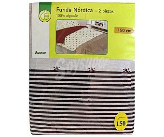 PRODUCTO ECONÓMICO ALCAMPO Funda para edredón nórdico, 100% algodón, modelo Flor Liberty, color blanco/rojo 1 Unidad