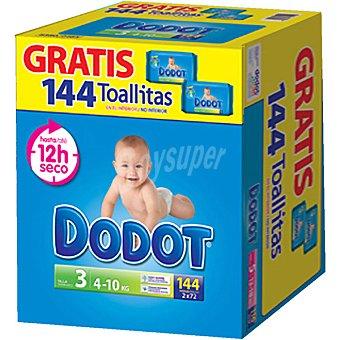 DODOT ETAPAS pañales de 4 a 10 kg talla con regalo de 144 toallitas con regalo de 144... 3 caja 144 unidades