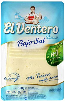El Ventero Queso tierno bajo en sal 8 lonchas finisimas Bandeja 160 g