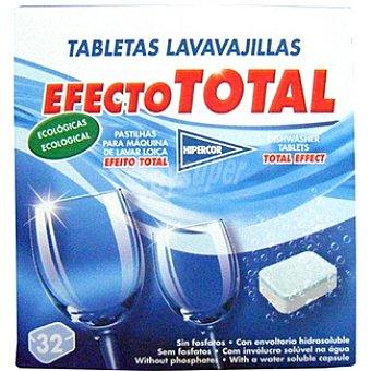Hipercor Detergente lavavajillas efecto total ecológicas Caja 32 pastillas