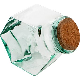 QUID Andros Tarro Hexagonal de vidrio con tapón de corcho 2 l