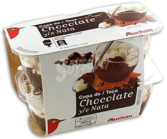 Auchan Postre lácteo con chocolate y nata Pack de 4 unidades de 115 gramos
