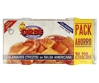 Orbe Calamares en salsa americana, pack de 2 unidades de 72 gramos 2x72g