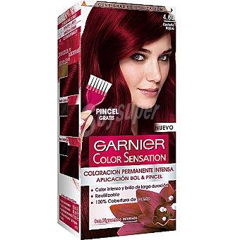 Color Sensation Garnier Tinte castaño rojizo nº 4.60 coloración permanente intensa caja 1 unidad pincel gratis Caja 1 unidad