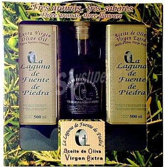La Laguna de Fuente de Piedra Aceite de oliva virgen extra 3 sabores diferentes estuche Vidueña madura + lata 500 ml Vidueña en envero + botella 250 ml Lechin Lata 500 ml