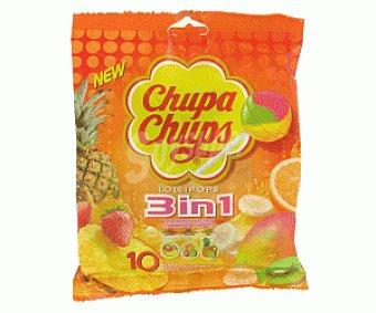 Chupa Chups Caramelo con Palo 3 en 1 10u