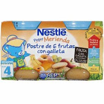 Nestlé Pequemerienda 6 frutas con galeta Pack 2x130 g