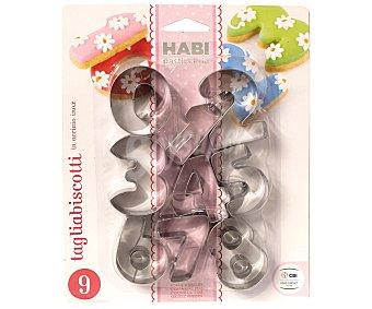 HABI Pack de 9 moldes cortadores con forma de números, fabricados en acero inoxidable Pack de 9 Unidades