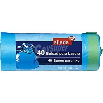 Aliada Bolsas de basura con autocierre azul 55x60 rollo 40 unidades Paquete 40 bolsas