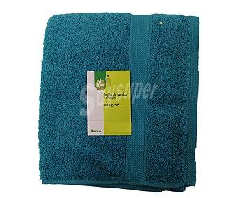 Productos Económicos Alcampo Toalla lisa de lavabo de algodón cardado, color turquesa, 50x90 centímetros 1 Unidad