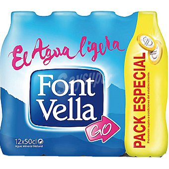 FONT VELLA agua mineral natural pack 10  botellas 50 cl + 2 gratis