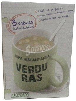 Hacendado Sopa deshidratada instantanea verdura 3 sobres de 20 g
