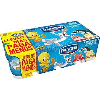 Danone yogur sabores 4 fresa + 4 sabor plátano  pack 8 unidades 125 g