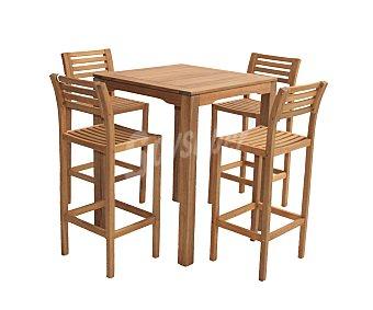 PLOOS Conjunto de mesa tipo bar de 80X80X100 y 4 sillas (taburetes) de 43x45x107 centímetros, modelo Samos, de madera de Acacia 100% FSC 1 unidad
