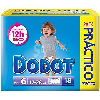 Dodot pañales de 17 a 28 kg talla pack práctico 6 paquete 18 unidades