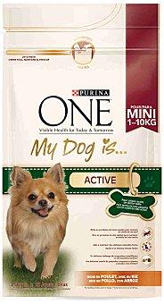One Purina My dog is active. Alimento para perros de raza pequeña activos rico en pollo y arroz  paquete 1,5 kg