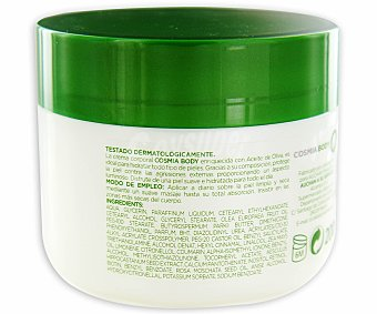 COSMIA Crema corporal aceite de oliva para todo tipo de pieles con manteca de karité, rosa mosqueta y vitaminas (E&B) 200 mililitros