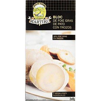 Martiko Bloc de foie gras de pato con trozos 2 medallones de 40 g envase 80 g 40 g