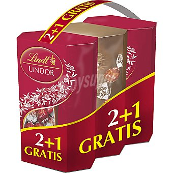 LINDT LINDOR Bombones de chocolate con leche relleno cremoso pack 2 estuche 200 g Pack 2 estuche 200 g