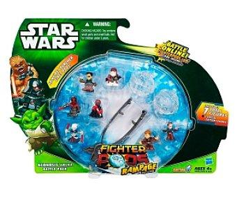Star Wars Pack con 7 mini figuras luchadoras, pinzas lanzadoras y 1 estrellas de la muerte 1 unidad