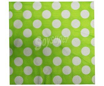 ACTUEL Servilletas con topos color verde, dos capas, 33x33 centímetros 50 unidades