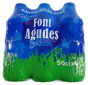 Font agudes Agua mineral natural Pack 6 botellas x 500 ml