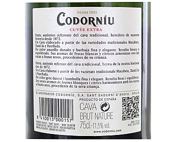 Codorníu Cava brut nature cuvé extra reserva botella 75 cl Botella 75 cl