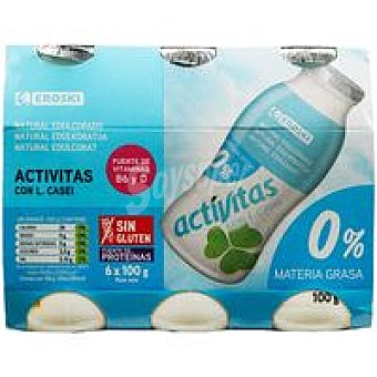 Eroski Activitas desnatado natural Pack 6x100 ml