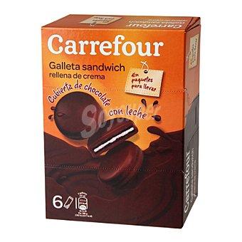 Carrefour Galleta de cacao sandwich rellena de crema y cubierta de chocolate con leche 252 g