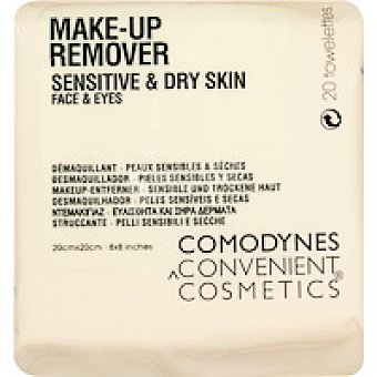 COMODYNES Urban Cosmetics Toallitas desmaquillantes piel sensible seca 20 unidades