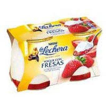 Nestlé Yogur con fresas enriquecido nestlé La Lechera, pack 2x125 G Pack 2 x 125 g