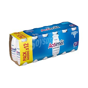 Actimel Danone Yogur líquido natural 0% M.G Pack 12 unidades 100 gr