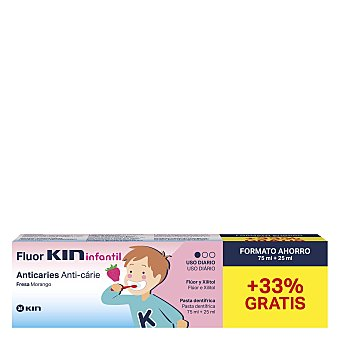 Kin Pasta de dientes infantil con flúor, Xylitol y sabor a fresa 75 ml