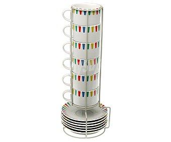 Versa Juego de 6 tazas de 0,08 litros de capacidad con plato y soporte de colocación, Lennart 1 unidad