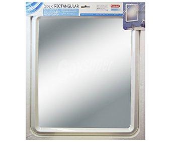 TOYMA Espejo rectangular de 65 centímetros, de vidrio púlido de 3 milímetros de grosor y color blanco 1 Unidad