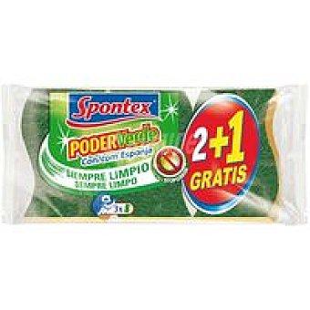 Spontex Estropajo poder verde Pack 2+1 unid