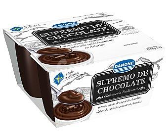 Danone Postre supremo de chocolate de elaboración tradicional elaborado en Asturias 4 unidades de 100 gramos