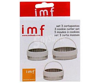IMF Set de 3 corta pastas redondos de acero inoxidable, 4,5/6/7 centímetros de diámetro 1 Unidad