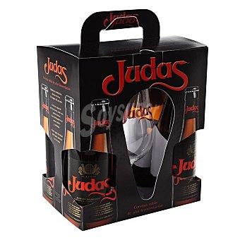 Judas Cerveza rubia + Regalo Copa Pack 4x33 cl
