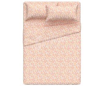 ACTUEL Mimosa Juego de sábanas para cama de 135cm, 100% algodón percal, diseño flores rosas, Mimosa actuel.