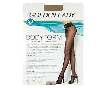 GOLDEN LADY Bodyform Panty transparente efecto moldeante, 20 den, color negro, talla M.