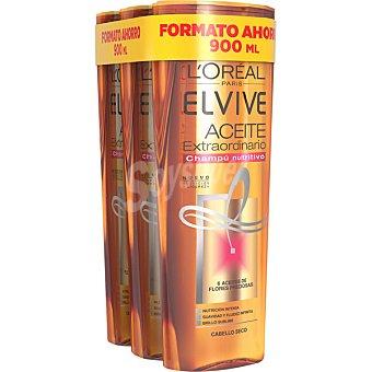 Elvive L'Oréal Paris Champú nutritivo Aceite Extraordinario Pack 3 frasco 300 ml