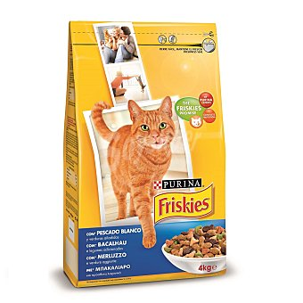Purina Friskies Pienso para gatos adultos pescado blanco 4 Kg