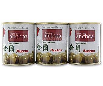 Auchan Aceitunas manzanilla verdes rellenas de anchoa Pack de 3 unidades de 50 gramos