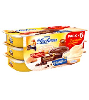 Nestlé - La Lechera Natillas surtidas sabor galleta, chocolate y clásica Nestlé pack 6x115 g